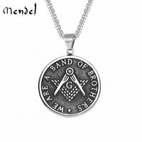 MENDEL Stainless Steel Mens Freemason Masonic Necklace Pendant Jewelry Silver