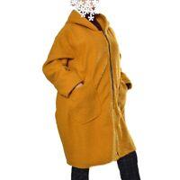 Wollemantel Mantel Boucle Wolle  Kapuze Gelb 50 52 54 56 58 60 XXL