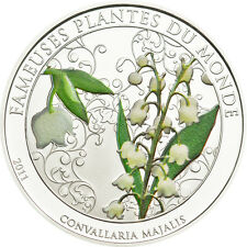 Lilly of the Valley scent 100 Francs Cu-Ni Silver plated Coin Benin 2011