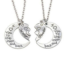 2Pcs I Love You to the Moon and Back Mother Daughter Heart Necklace Pendant Conv