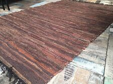Fab Cotton Leather Indian Rag Rug Natural Brown Braided Flat Weave 120cm x 180cm