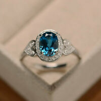 1.65 Ct Oval Cut Topaz Engagement Ring 14K Solid White Gold Diamond Size O P