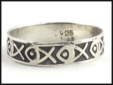 VINTAGE .925 Sterling Silver, Fish Band Ring - Size 6