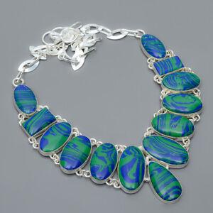 "Azurite Malachite 925 Sterling Silver Jewelry Handmade Necklace 17.99"" N1677-1"