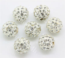15pcs 10mm White Czech Crystal Rhinestone Pave Clay Round Disco Ball Spacer Bead