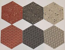 "Die-Cut HEXAGON Shapes - JAPANESE Indigo Cream Red, Black - 4.5"" HEXAGONS"