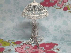 """Vintage Dollhouse White Wire Wicker Look Lamp 4.5"""" Tall"""