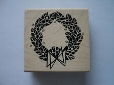 JUDIKINS WOODEN BACKED RUBBER STAMP - RETRO WREATH NEW *LOOK*