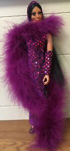 RARE HTF Vintage CHER? Mego? Doll PURPLE RED DRESS With Stunning PURPLE BOA, Hat