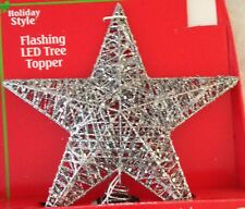 """11"""" Flashing Lighted Silver Glitter Star Christmas Tree Topper Led Multi-Color"""