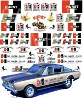 Hurst 1:64, 1:43, 1:32, 1:24 water slide decals for Hot Wheels, Slot Car models