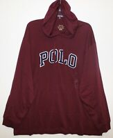 Polo Ralph Lauren Mens Dark Red Letterman Hoodie L/S Cotton T-Shirt NWT Size M