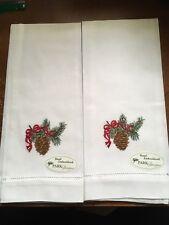 Park Design Hand Embroider Holiday Pine hand towel,Winter Christmas Pine ConeNWT