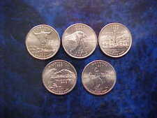 2007 PHILADELPHIA MINT STATE QUARTER SET OF 5 DIFFERENT STATE COINS UNCIRCULATED