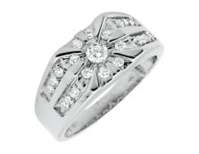 Solid 10K White Gold Solitaire Strip Rows Real Diamond Wedding Pinky Ring 1.0ct.