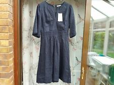Whistles Embroidered Linen Dress Navy Blue Uk8 12 8