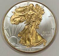 2 oz .999 pure Silver Coin 24k Gold Gilded A NEW Molon Labe Come and Take it