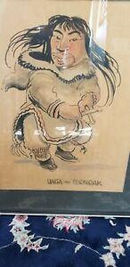 Orig. Mid Century 1949James A Houston Alaskan Inuit Watercolor