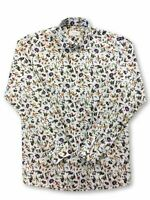 Eton Blue contemporary fit shirt in white nature print rrp £115.00
