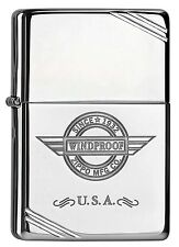 Zippo Vintage Look USA Windproof chrom poliert Feuerzeug Neu 60000209
