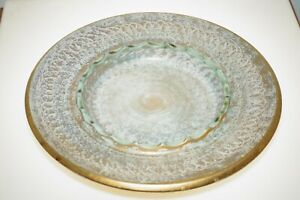"Vintage Stangl Pottery Gold Turquoise Glaze 10.5"" Ashtray 1954 Retro #3972"