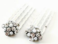 USA Mini Hair Comb Small Swarovski ELM Crystal Bridal Wedding Silver Clear Pearl