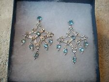 NOLAN MILLER Earrings Chandelier Silvertone Blue & Clear Austrian Crystals NEW