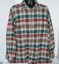 LEVI'S Plaid Flannel Button Front Shirt Levi Strauss Co. Mens Size L Green Tan