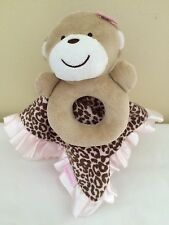 Carters Monkey Leopard Print Security Blanket Lovey Pink Brown Rattle