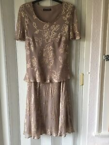 jacques vert Beautiful Coffee Silk & Viscose 2 Piece Special Occasion UK 12