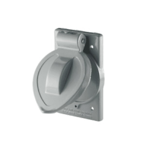 COOPER 7420 COVER WEATHER-PROOF SINGLE RECEPTACLE 1.56IN D DIECAST VERTICAL GRAY
