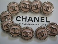 CHANEL BUTTONS lot of 10  Light pink 16 mm over 1/2 inch metal  cc logo lot 10