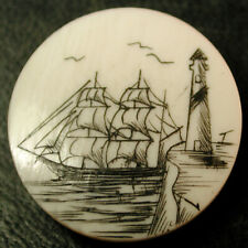 Hand Etched & Inked Button Sailing Ship & Lighthouse Scene - 3/4