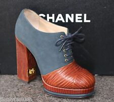 NIB CHANEL LOGO Platform Chunky Heel Navy/Brown LACE UP ANKLE BOOTIES Shoes 36