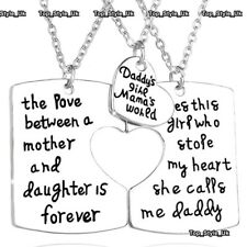 Daughter Dad & Mum Silver Necklaces Matching Set Christmas Gifts for Her Him E5