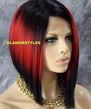 "15"" Straight Short Bob Black Cherry Mix Full Lace Front Wig Heat Ok Hair Piece"