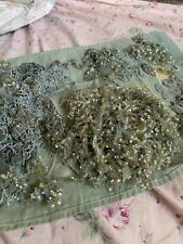Antique 1920s Beaded Flapper Dress Trim Salvage Gelatin Sequins Blue Silk Metal