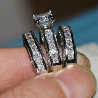 925 Silver Filled Luxury Wedding Ring Gift for Women White Sapphire Ring Jewelry