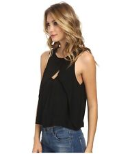 FREE PEOPLE BLACK LOOK THROUGH KEYHOLE SEXY KEYHOLE SLEEVELESS TOP EUC SZ M 6 8