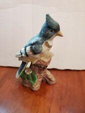 "Vintage Blue Jay Garden Bird Collection Fine Porcelain Figure Statue Taiwan, 7"""