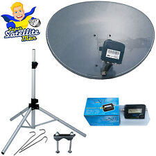 60cm Sky dish quad LNB & tripod + Satellite Finder portable camping caravan