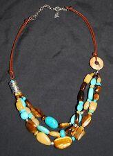 SILPADA - N1858 - Brown Leather Stblzd Turquoise Tiger Eye Quartz Necklace - RET
