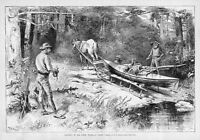 CANOE PORTAGING IN THE NORTH WOODS HUNTERS KAYAK CANOEING HORSE PULLING CANOE