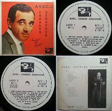 CHARLES AZNAVOUR AVEC 1965 (66?) MONO UNQ CVR & ERRORS! UNIQ CHILEAN PRESS ONLY!