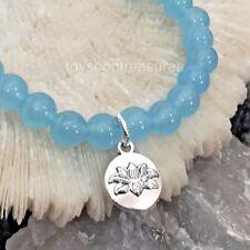 Natural Brazilian Aquamarine Bracelet Gemstone Lotus Flower