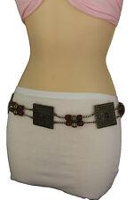 New Women Tie Belt Hip Waist Brown Beads Antique Gold Metal Plate Fashion XS S M