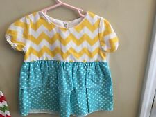 Lolly Wolly Doodle 24M Chevron Swing Top Shirt Tiered Yellow Blue Polka Dot Girl