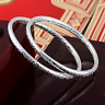 Charm Women 925 Sterling Silver Plated Carved Fine Cuff Bangle Bracelet Jewelry