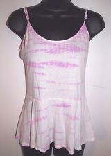 Guess Size Medium Womens Pink and White Tie Die Peplum Camisole Top