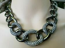 NEW AUTH  KJL KENNETH JAY LANE NECKLACE WIDE HEAVY CHAIN CRYSTALS GUNMETAL